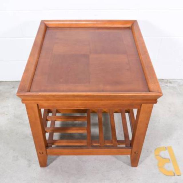 Solid Wood End Table W 2 Tiers Loveseat Vintage Furniture San Diego