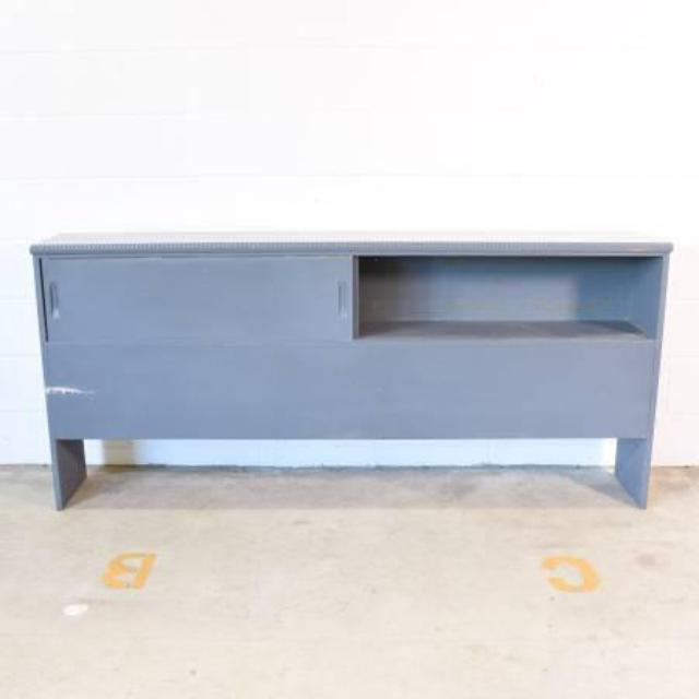 Blue Painted King Sized Storage Headboard And Bed