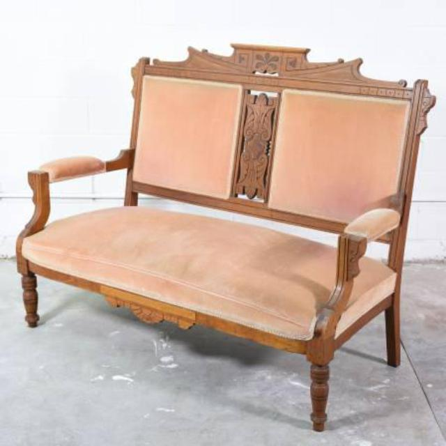 Antique Carved Wood Upholstered Settee In Peach Loveseat