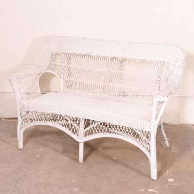 White Wicker Bench Loveseat Vintage Furniture San Diego