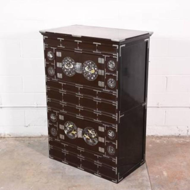 Asian Abalone Storage Chest Loveseat Vintage Furniture
