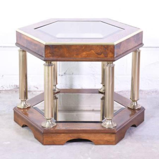 Wood Hexagon End Table W Glass Top Loveseat Vintage