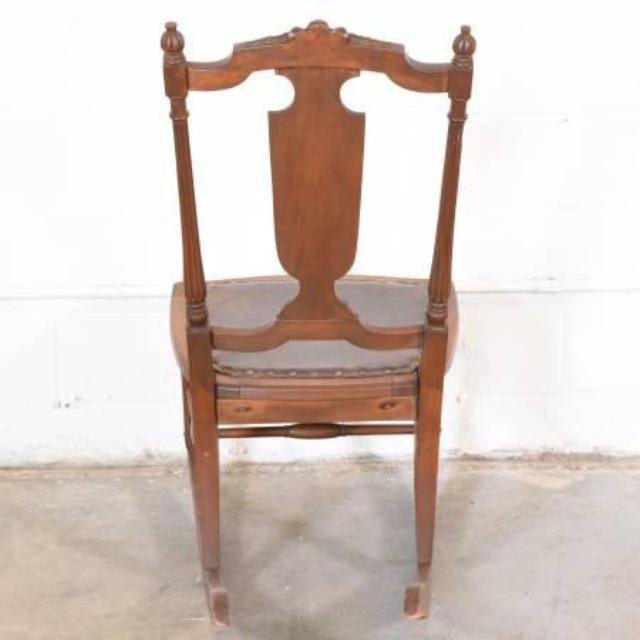Antique solid wood rocking chair w leather seat