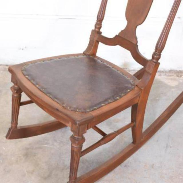 Antique Solid Wood Rocking Chair W Leather Seat Loveseat Vintage Furniture San Diego