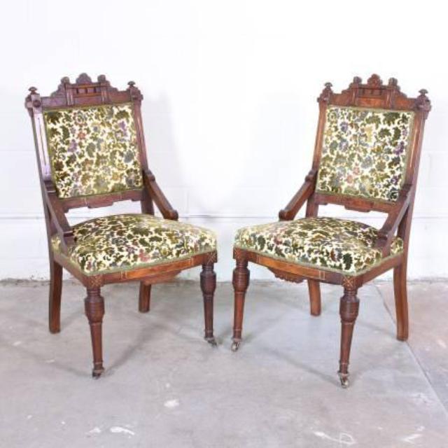 Pair Of Eastlake Chairs In Floral Upholstery Loveseat Vintage Furniture San Diego