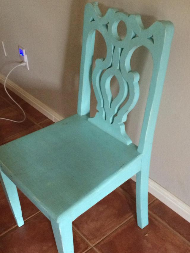 Turquoise Solid Wood Chair Loveseat Vintage Furniture