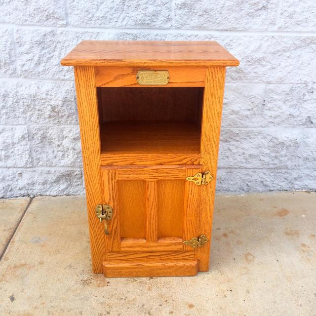 Vintage Ice Box Reproduction End Table W Storage