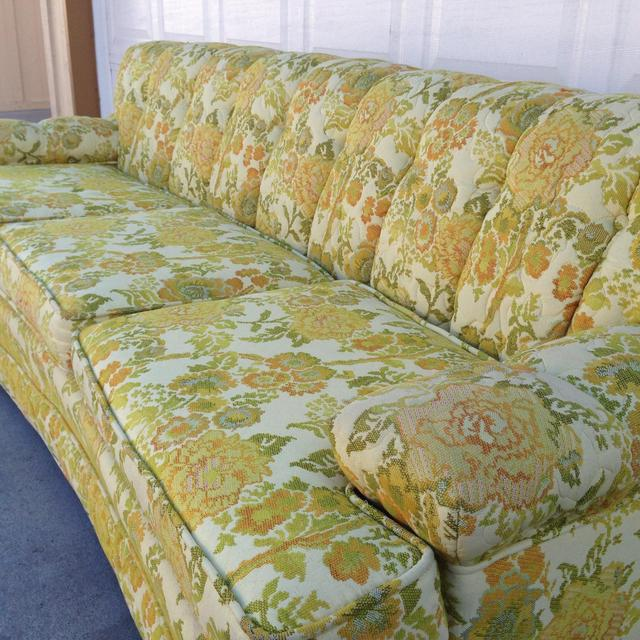 1960s Retro Mid Century Floral Couch Loveseat Vintage