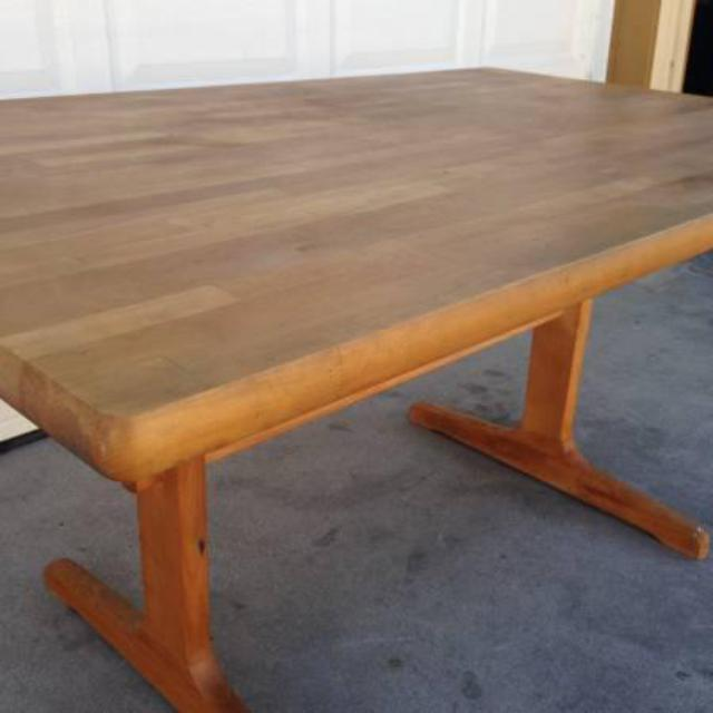 Butcher Block Wood Kitchen Table : Solid Wood Butcher Block Style Kitchen Table Loveseat Vintage Furniture San Diego