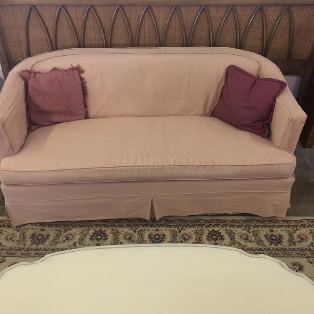 Cute Pink And White Pinstripe Loveseat Couch Loveseat