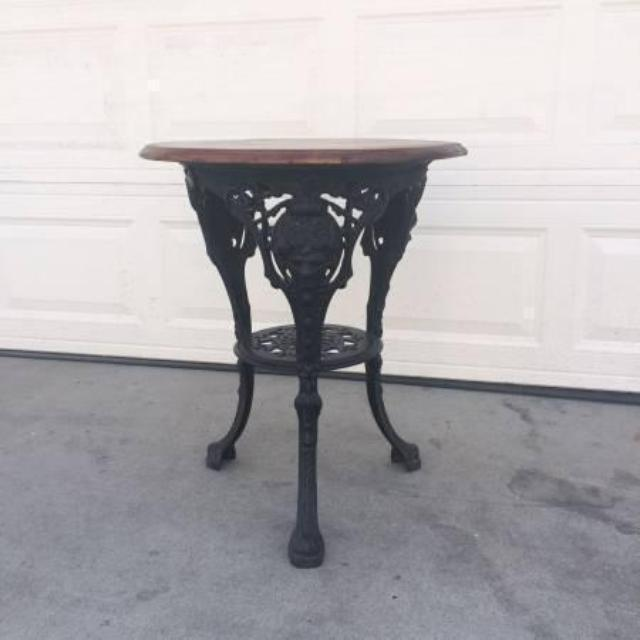 Vintage Cast Iron Amp Wood Round End Table Loveseat