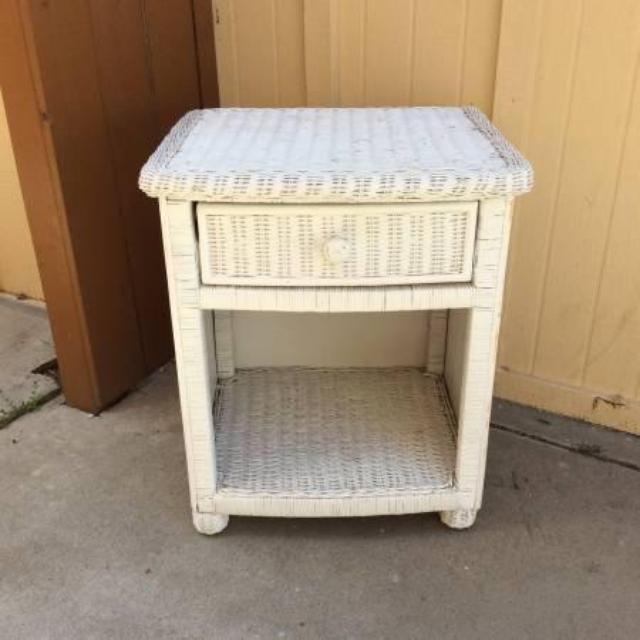 White Wicker Nightstand Loveseat Vintage Furniture San Diego
