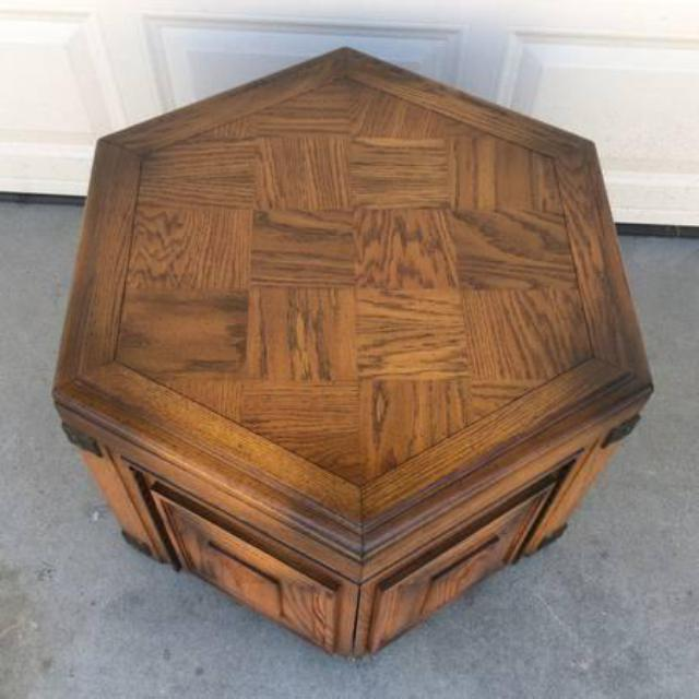 Unique Wood Hexagon End Table Loveseat Vintage Furniture