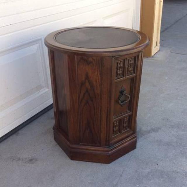Cylinder Octagon End Table Cabinet Loveseat Vintage