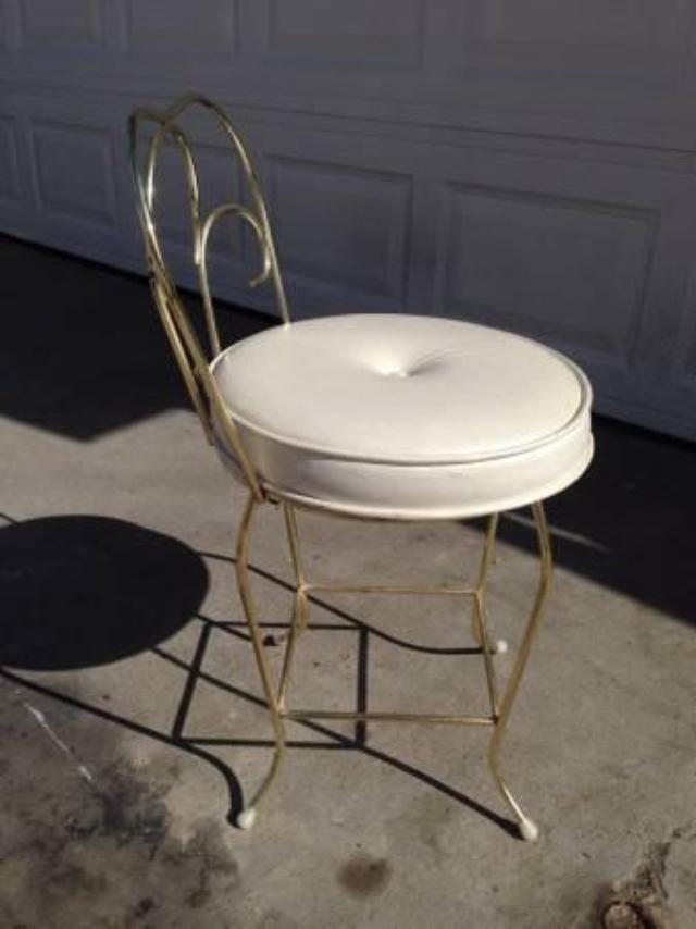 Cute Gold Vanity Stool Loveseat Vintage Furniture San Diego