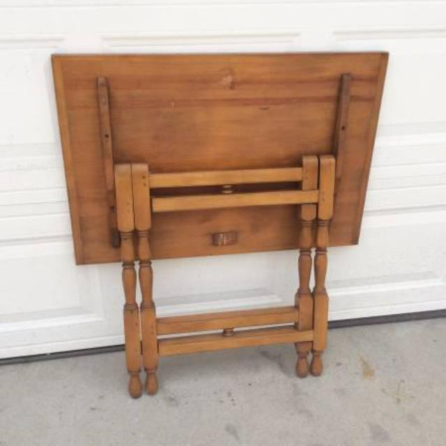 Beautiful Vintage Folding Gateleg Solid Wood Table