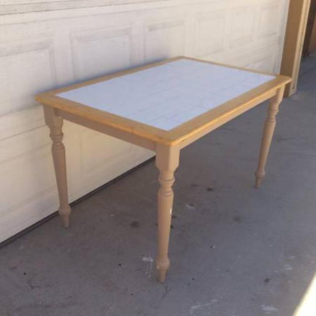 Functional Solid Wood Kitchen Table W/ White Tile
