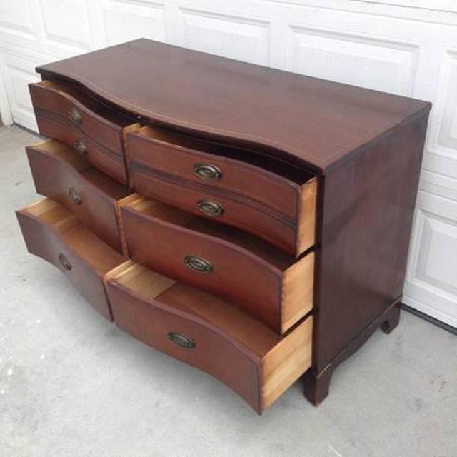 "Vintage Wooden Bowfront ""Bassett"" Dresser"