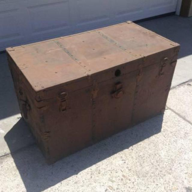 Antique Solid Wood Chest W Metal Straps Loveseat