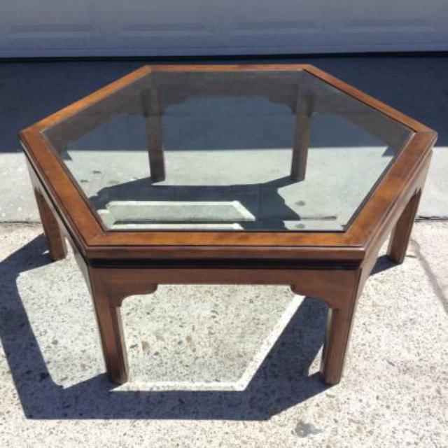 Ethan Allen Trevor Coffee Table: Ethan Allen Vintage Hexagon Coffee Table W/ Glass