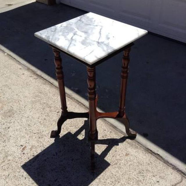 Solid Wood End Table W Marble Top Loveseat Vintage