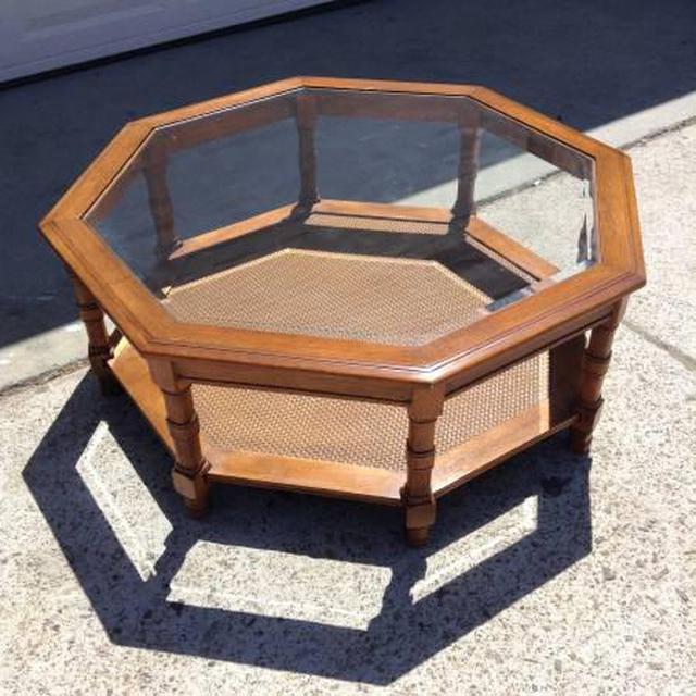 Solid Wood Vintage Octagon Coffee Table W Shelf