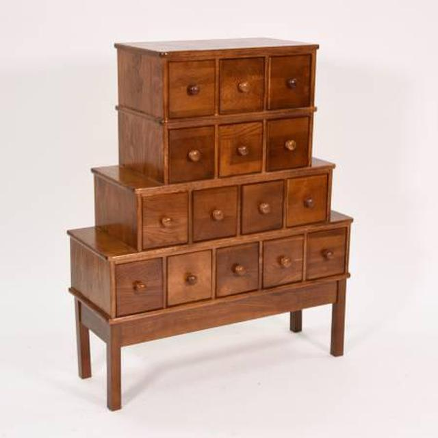 Solid Wood 15 Drawer Apothecary Cabinet Loveseat Vintage