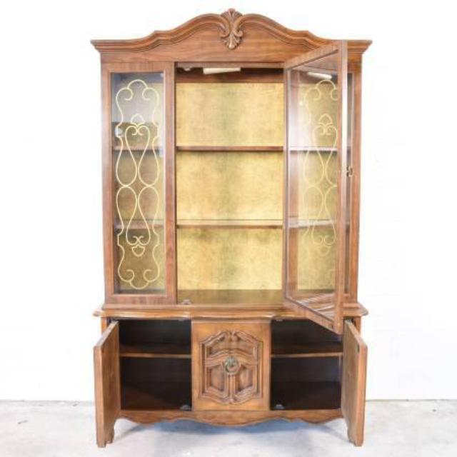 Solid Wood 3 Door China Cabinet Loveseat Vintage