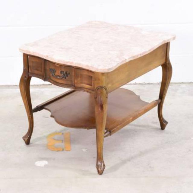 Pink Marble Top End Table W Drawer Loveseat Vintage