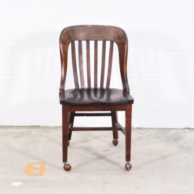Wooden Desk Chair W/ Wheels