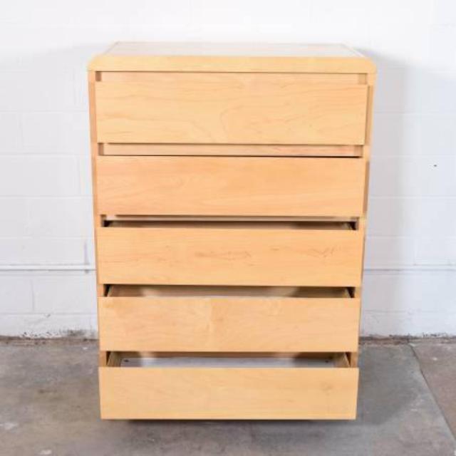 Tall Blonde Wood Dresser W 5 Drawers Loveseat Vintage