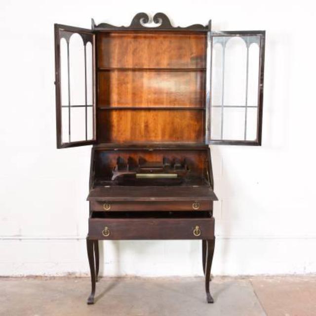 Tall Antique Dark Wood Secretary Desk Loveseat Vintage Furniture San Diego