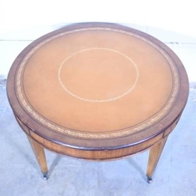 Antique Round Leather Top Coffee Table: Round End Table On Wheels W/ Leather Top