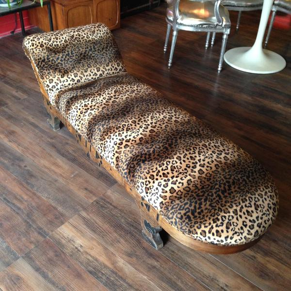 Leopard print chaise loveseat vintage furniture san diego for Animal print chaise lounge