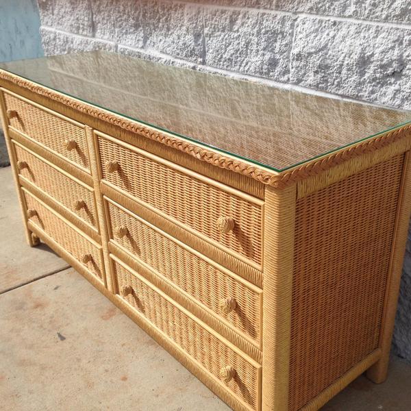 Henry Link Designer Wicker Dresser Loveseat Vintage