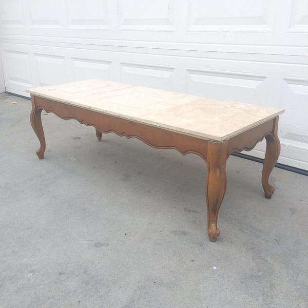 Vintage French Provincial Marble Top Coffee Table Loveseat