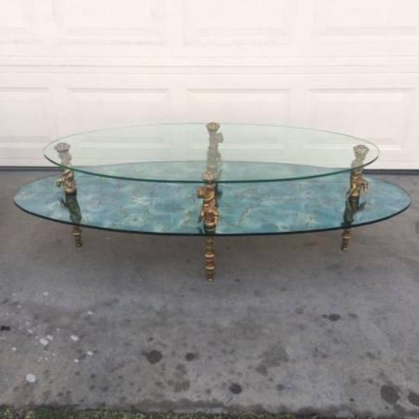 1960s hollywood regency brass & glass coffee table | loveseat