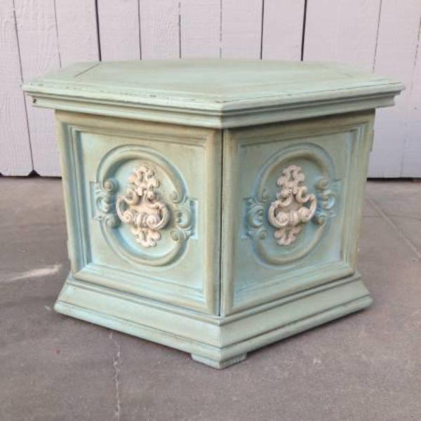 Shabby Chic Hexagon End Table W/ White Handle | Loveseat Vintage Furniture  San Diego