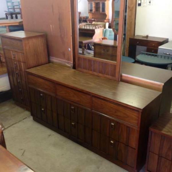 Mid Century Nordic Style Long Dresser w Mirror