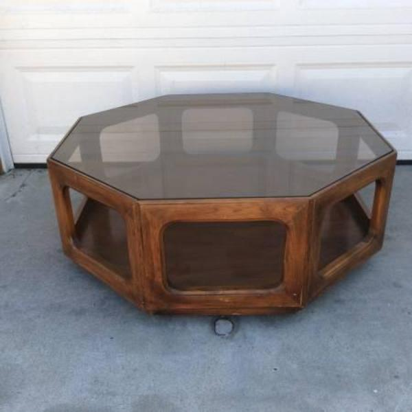 Mid century modern octagon glass wood coffee table for Octagon glass top coffee table