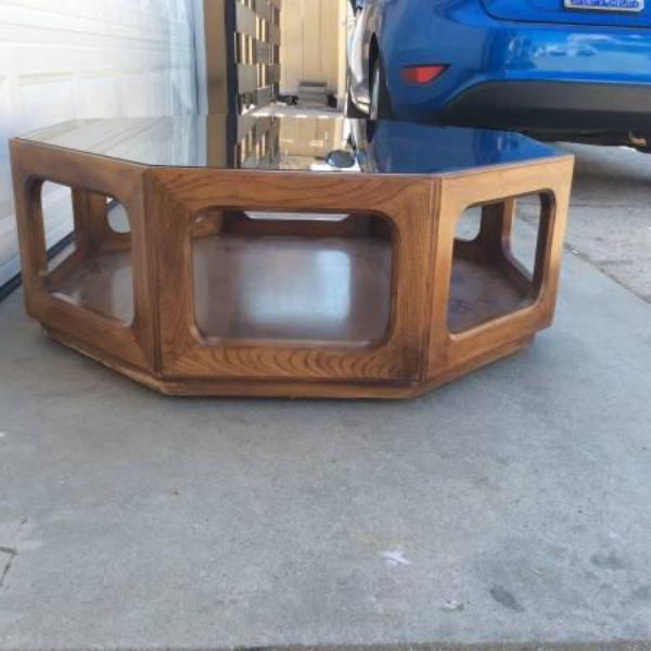 Mid Century Modern Octagon Glass Wood Coffee Table