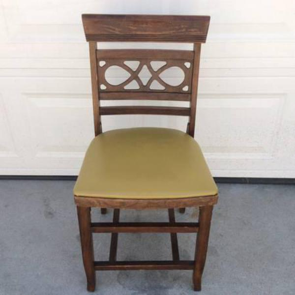 Antique Dark Wood Desk Chair w Yellow Green Seat