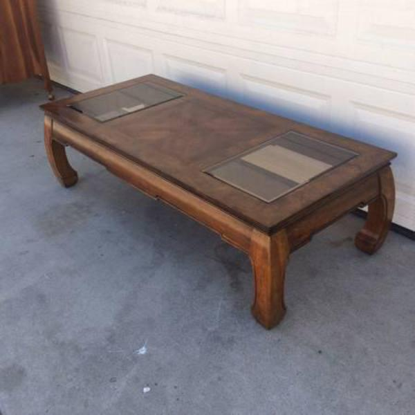 Solid Wood Glass Asian Style Coffee Table Loveseat Vintage Furniture San Diego Los Angeles
