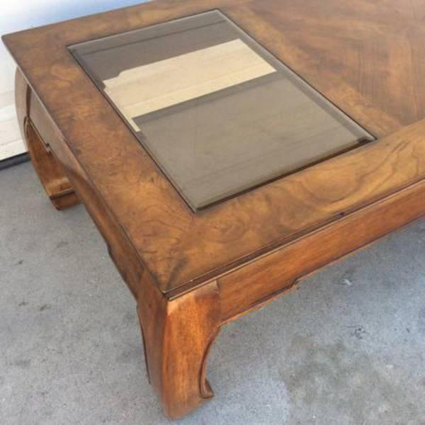 Solid Wood & Glass Asian Style Coffee Table