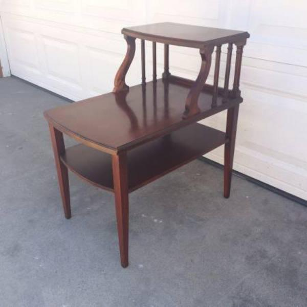 Dark wood vintage telephone table by quot mersman loveseat