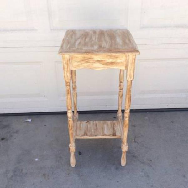 Tall skinny distressed white shabby chic end table for Tall thin end tables