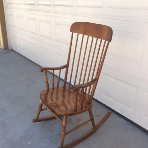 ... Solid Wood Spindleback Rocking Chair  Loveseat Vintage Furniture
