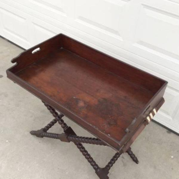 Antique Solid Wood Butler Tray Console Table Loveseat