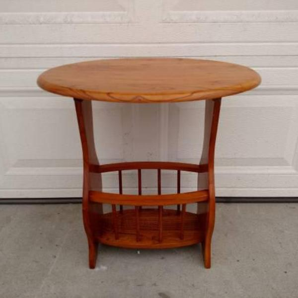 Small Wooden End Table With Magazine Rack Loveseat