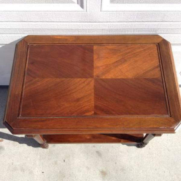 Two Tier Solid Wood End Table Loveseat Vintage Furniture